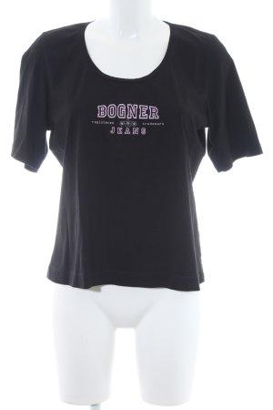 Bogner T-Shirt schwarz-rosa Schriftzug gedruckt Casual-Look