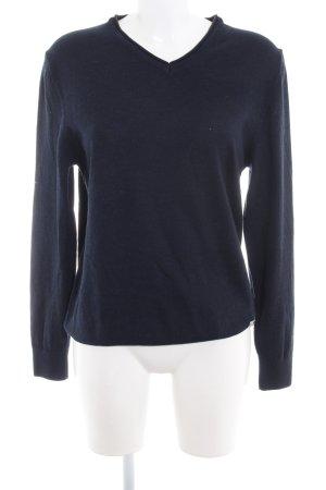 Bogner V-Ausschnitt-Pullover dunkelblau-schwarz meliert Casual-Look