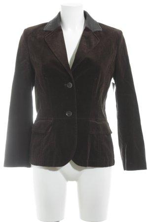 Bogner Blazer de lana negro-marrón oscuro apariencia de terciopelo