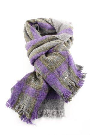 Bogner Bufanda de lana lila-gris claro estampado a cuadros look Street-Style