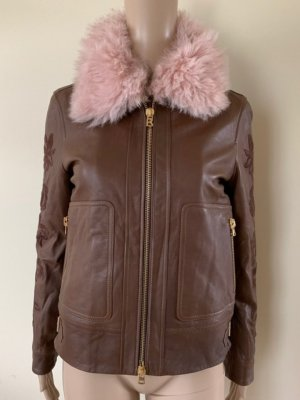 Bogner Leather Jacket brown-light pink