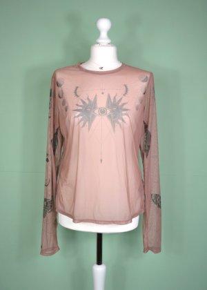 Bohemian Pullover in Transparent in Altrosa und Schwarz