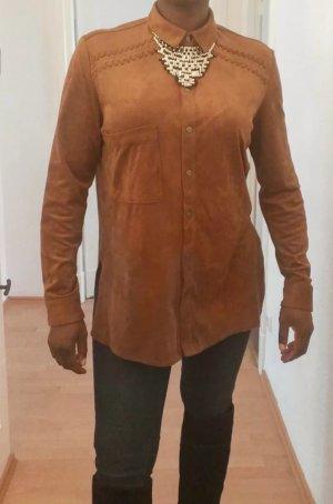 Bershka Lederen blouse brons-cognac
