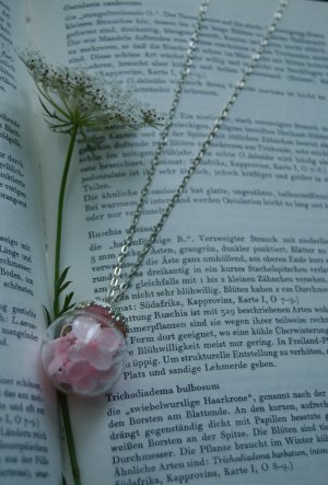 Necklace silver-colored-pink glas