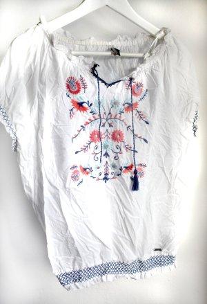 Boho Bluse mit Folkloremuster, in Pastelltönen bestickt. Von Pepe Jeans