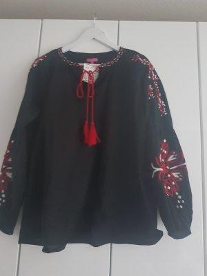Boho Bluse Suzanna schwarz rot Damenbluse