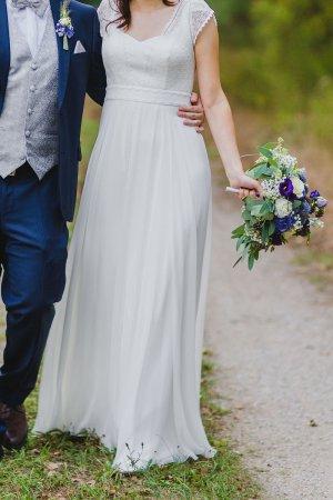 Boho Brautkleid Gr. 36 von Rembo Styling (Galante) aus Chiffon / Spitze mit Rückenausschnitt, Schleppe, Herz-Form Ausschnitt Hochzeitskleid