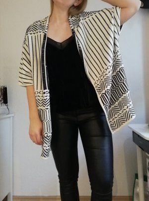 H&M Cardigan all'uncinetto nero-crema