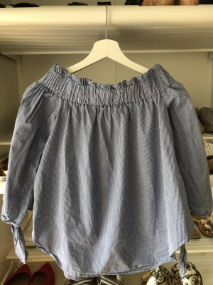 H&M Carmen Blouse white-dark blue