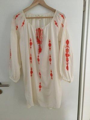 H&M Robe tunique blanc cassé-orange fluo