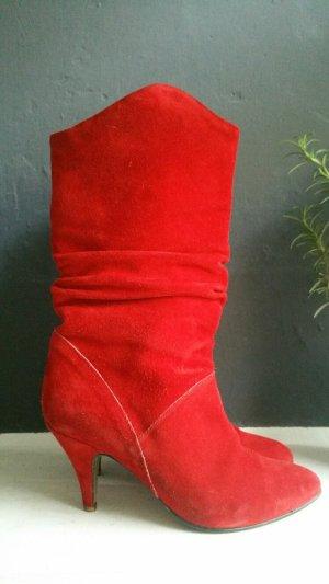 Heel Boots red suede