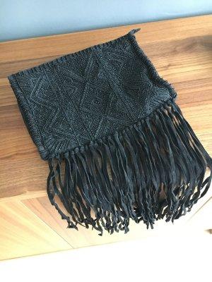Boho Fransen Tasche von Zara Black Perlenstickerei