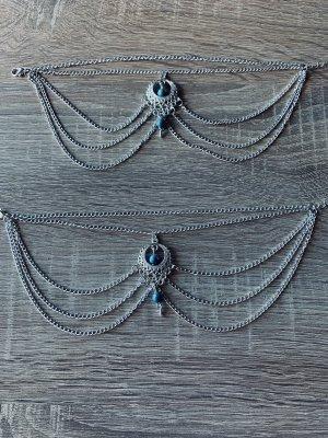 Chaîne de cheville argenté-turquoise
