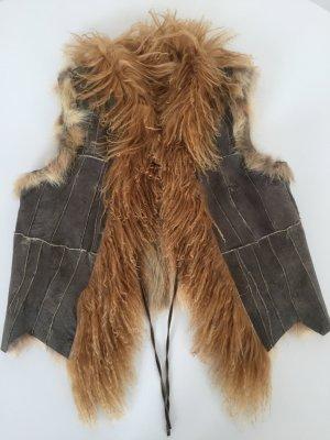 Smanicato di pelliccia color cammello-marrone-grigio