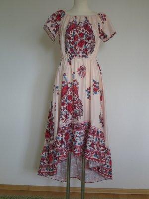 Boho Hippie Folklore Vokuhila Kleid Blümchenkleid mit Schleppe, Gr. 38