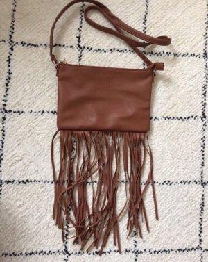 H&M Bolso de flecos marrón-color oro
