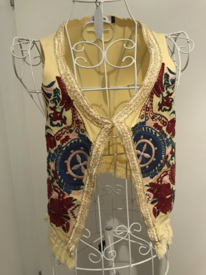 Boho Hippie Glamour Weste Ibiza Style, Jubylee, S, gelb