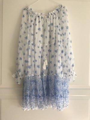Boho Hippie Kleid von Ermanno Scervino aus blau weißer Seide