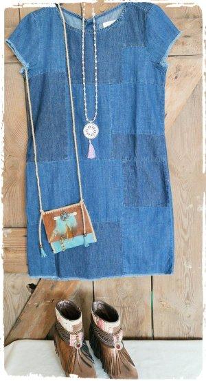 Boho Hippie Patchwork Jeans Kleid