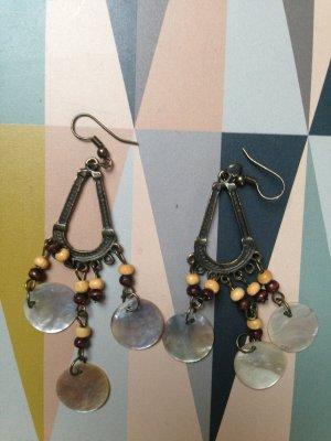 Boho/Hippie-Sommer-Ohrringe mit Muscheln und Perlen