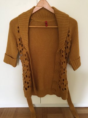 Boho Hippie Strickjacke in Senfgelb Gr. S