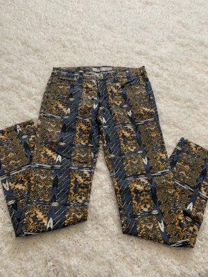 Fishbone Pantalon cinq poches jaune-bleu fluo