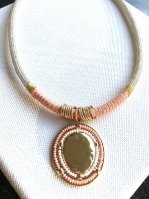 Boho Kette - silber/ gold/ peach