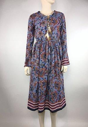 Boho Kleid Blumenkleid Chiffonkleid Midikleid blau rot Größe S 36 Neu