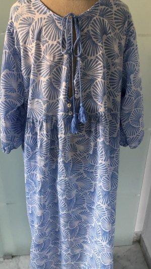 BOHO Kleid, Größe XL, Mittelblau /Weiß