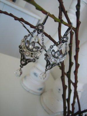 BOHO Ohrringe mit Perlen & Strasssteinen Vintage Romantik silber-farben