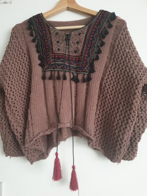 Coarse Knitted Sweater bronze-colored-brown