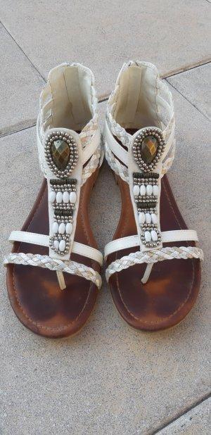 Graceland High-Heeled Toe-Post Sandals white