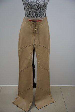 Pantalón de cuero camel-crema