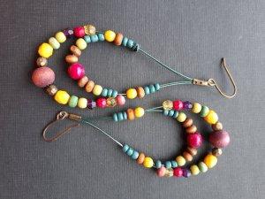 Boho Sommer Ohrringe Hänger mit Holzperlen bunt Modeschmuck