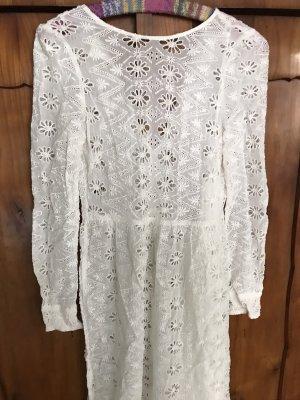 Zara Kanten jurk wit Katoen