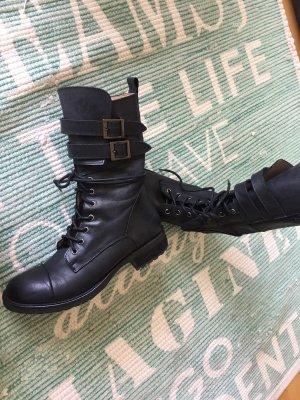 Boho Stil Blogger Schnürstiefel Boots echt Leder npr 179 italy gr 38