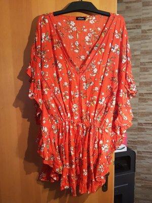Boho Style # Festival Tunika in sattem orange mit coolen Volants seitlich # Grösse : L