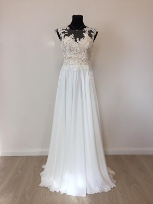 Boho Vintage Brautkleid Hochzeitskleid Gr. 38-40 Ivory/Puder