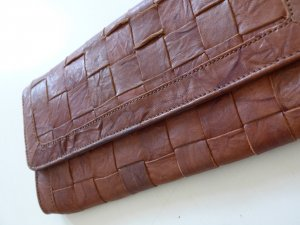 Warehouse Clutch cognac-coloured leather