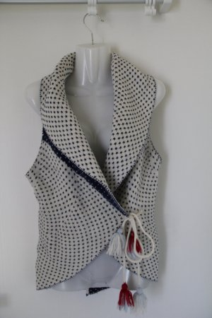 H&M Gilet tricoté blanc cassé-bleu