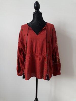 Zara Camicetta a blusa rosso scuro-carminio