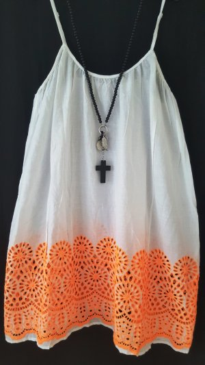 Robe à bretelles blanc-orange fluo