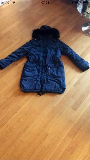 Fake Fur Jacket dark blue