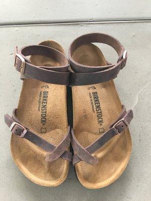 Birkenstock Strapped Sandals bronze-colored leather