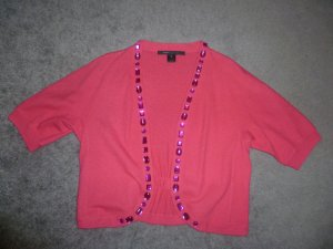 Marc Jacobs Short Sleeve Knitted Jacket neon pink wool