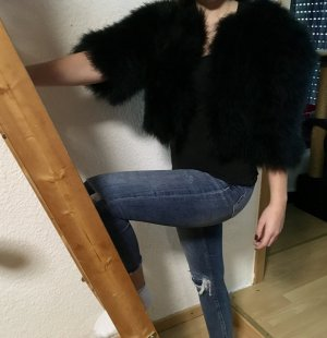 Bolero Jacke Weste schwarz Federn