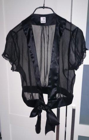 Bolero Kurzjacke schwarz transparent mit Schleife von Brigitte von Boch, Gr. S-M