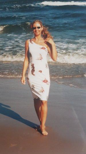 Robe de plage blanc-rouge fluo