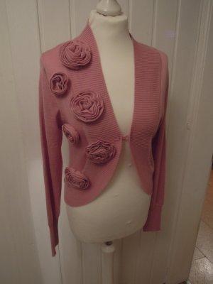 Bolero Strickjacke Cardigan 50 % Schurwolle APART Blumen Gr. 36 rosa Langarm zu Abendkleid Bluse