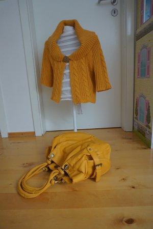 Mango Veste tricotée en grosses mailles jaune tissu mixte